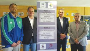 By die bekendmaking van die krieketvelde waar die Afrika Top 20-toernooi aangebied gaan word, is van links Gurswin Rabie, Albertus Kennedy, hoof- uitvoerende beampte van SWD Krieket, Corrie van Zyl van Krieket SA, en Rudy Claassen, president van SWD Krieket.